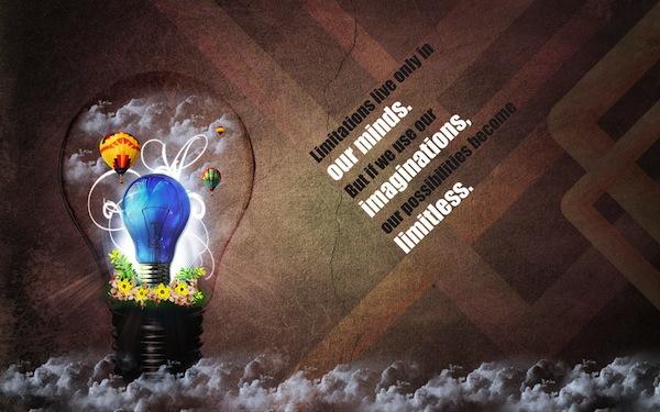 sfondo ispirante: Le limitazioni nella vita sono solo nella tua mente ma se usiamo la nostra immaginazione le nostre possibilità diventano illimitate