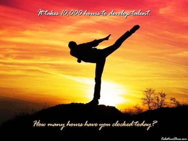 Sfondo Motivazionale -Ci vogliono 10000 ore per sviluppare un talento , quante ne hai fatte trascorrere oggi?