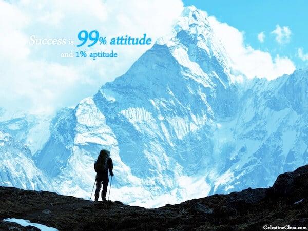 Sfondo Motivazionale - Il Successo è al 99 % comportamento e all'1% Attitudine (predisposizione)